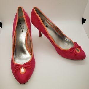 LOFT Camdyn Pink Faux Suede Heels, size 8